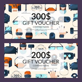 Buono regalo o modello di carta di sconto con illustrazione di elementi di realtà virtuale stile piatto