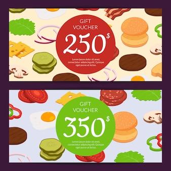 Buono sconto o buono regalo per gli ingredienti dell'hamburger