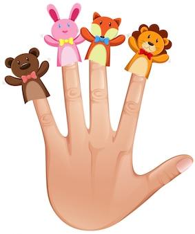 Burattini del dito animale sulla mano umana