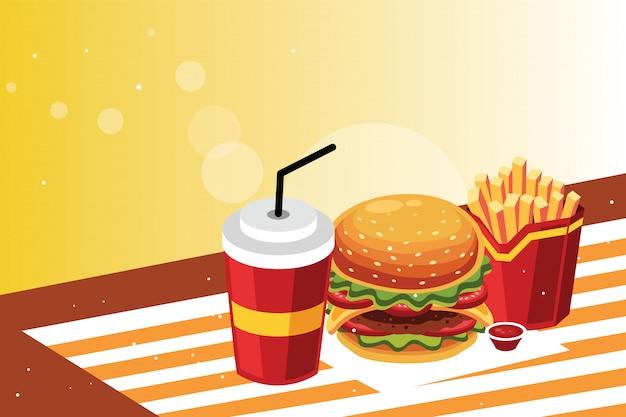 Burger e patatine fritte con bevanda fredda