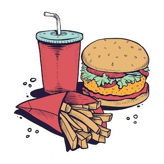 Burger e patatine fritte