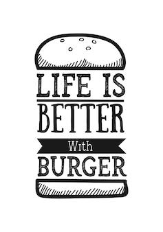 Burger lettering citazione con schizzi