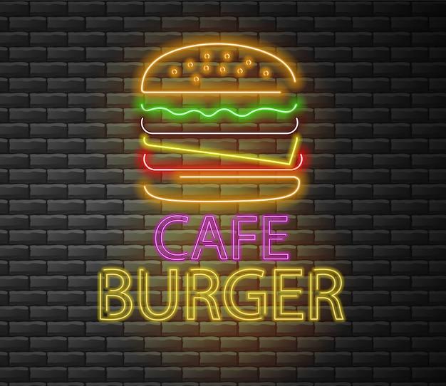Burger neon, cafe burger, deliziosi fast food, sfondo di mattoni, luce al neon