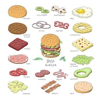 Burger vettoriale fast food hamburger o cheeseburger costruttore con ingredienti carne panino pomodoro e formaggio illustrazione fastdood sandwich o beefburger set isolato su sfondo bianco