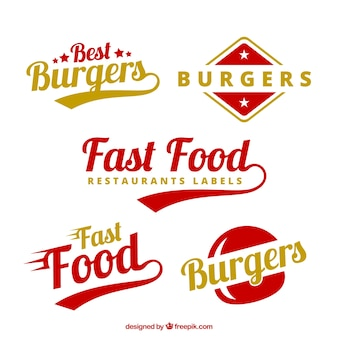 Burgers etichette in colori rosso e giallo