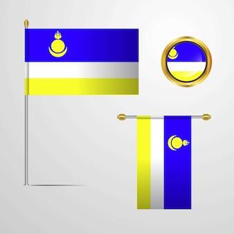 Buriazia sventolando design bandiera con distintivo vettoriale