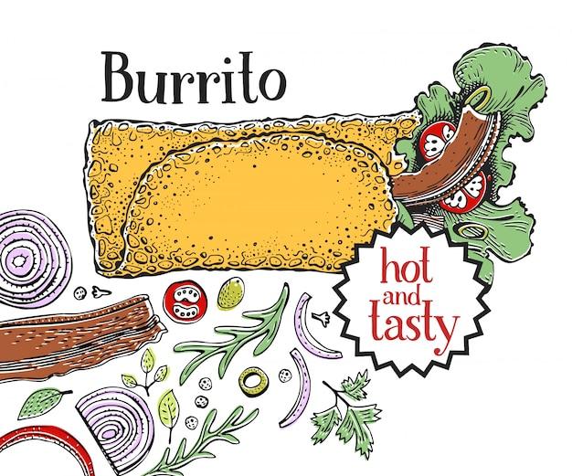 Burrito. cibo messicano. cucina tradizionale messicana