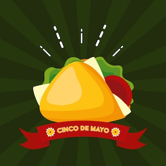 Burrito messicano dell'alimento, illustrazione di cinco de mayo, messico
