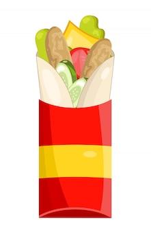 Burrito saporito su bianco