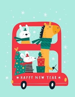 Bus festivo di felice anno nuovo con simpatici animali dei cartoni animati: giraffa, coniglio, topi, topo, topo.