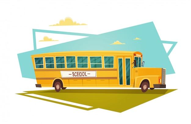 Bus giallo che guida di nuovo alla scuola