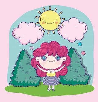 Bush sveglio delle nuvole del sole del fumetto della ragazza di anime