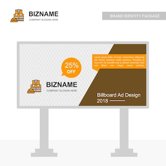 Business bill board design con logo giacca da lavoro