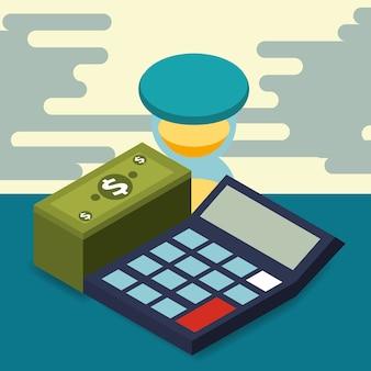 Business calcolatrice clessidra mucchio banconota denaro isometrica