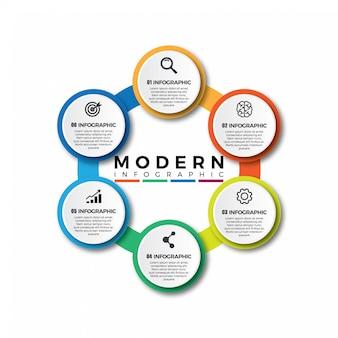 Business cerchio colorato, infografica timeline