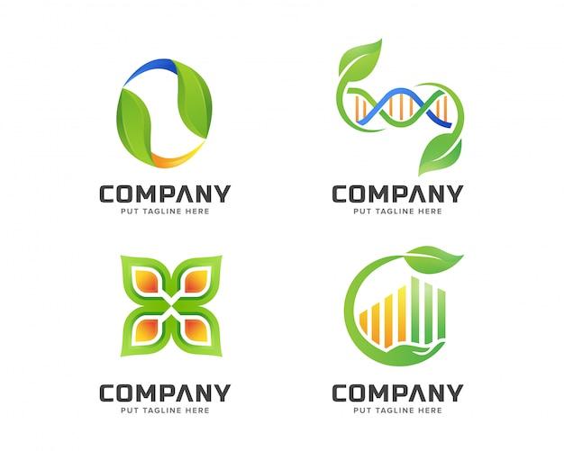 Business green nature, set modello di logo spa