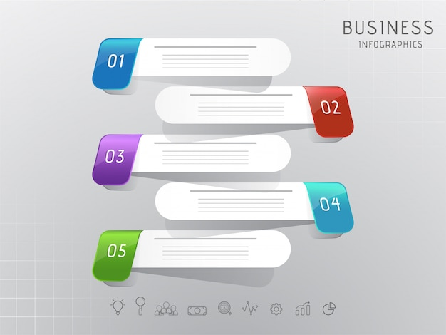 Business infographic numerico passo 3d strisce elementi
