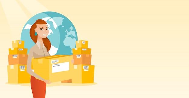 Business lavoratore del servizio di consegna internazionale.