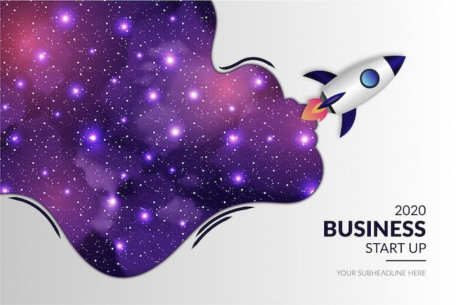 Business moderno start up con realistico razzo e galaxy background
