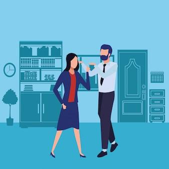Business partner che discute avatar senza volto