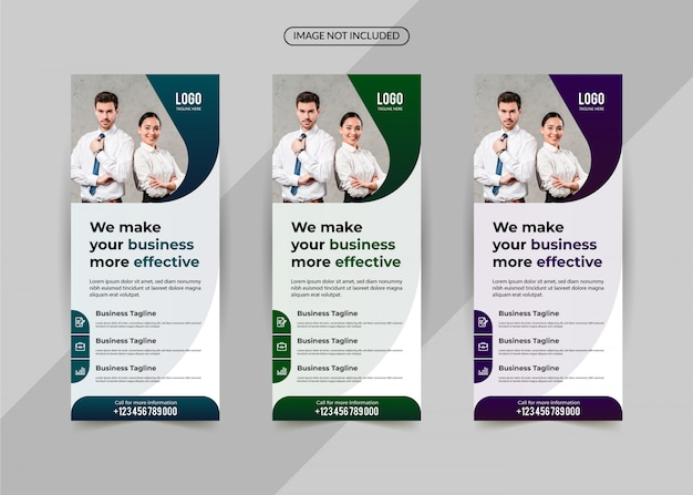 Business roll up set, modello di banner standee