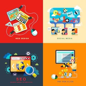 Business seo infographic network e finanza strategia di marketing