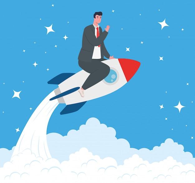 Business start up concetto, banner, processo di avvio dell'oggetto business, uomo d'affari nel razzo e nuvole