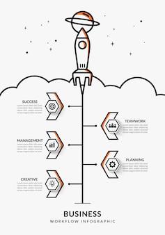 Business start up infografica con molteplici opzioni, modello di flusso di lavoro di lancio di un razzo