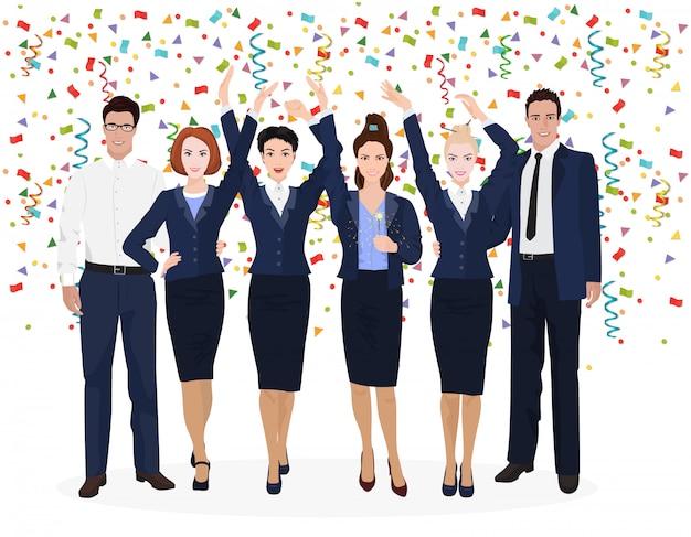 Business team festeggia il successo