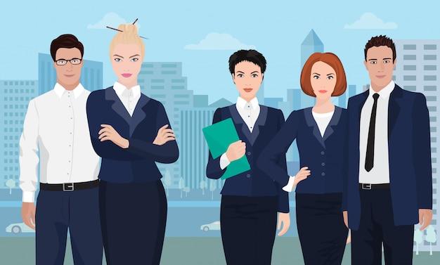 Business team sullo sfondo della città