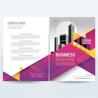 Business viola brochure modello con elementi di triangolo giallo.