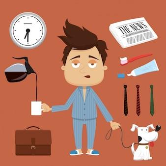 Businessmans mattina illustrazione elementi vettoriali e accessori