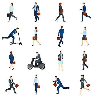 Businesspeople che vanno funzionare insieme di icone piane