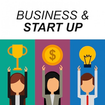 Businesspeople successo trofeo denaro bulbo idea di business e start up