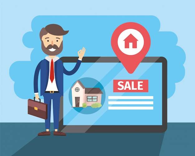 Busnessman con tablet per casa posizione di vendita