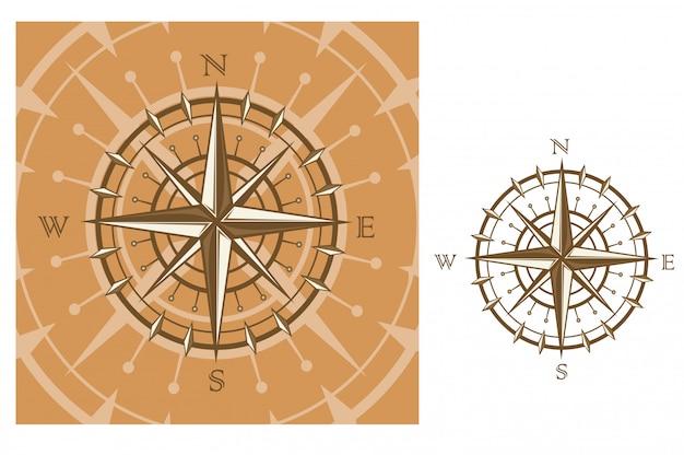 Bussola medievale isolata su fondo bianco per progettazione di viaggio