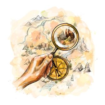 Bussola nautica antica invecchiata e mano che tiene la lente d'ingrandimento con mappa del tesoro da una spruzzata di acquerello, schizzo disegnato a mano. illustrazione di vernici