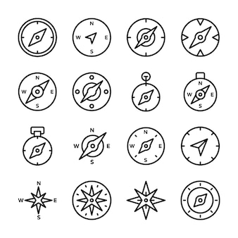 Bussola rose line icons set
