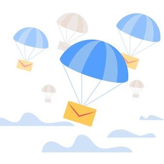 Busta che cade giù con il paracadute blu in cielo