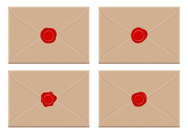 Busta con l'illustrazione rossa di progettazione del sigillo di cera isolata su fondo bianco