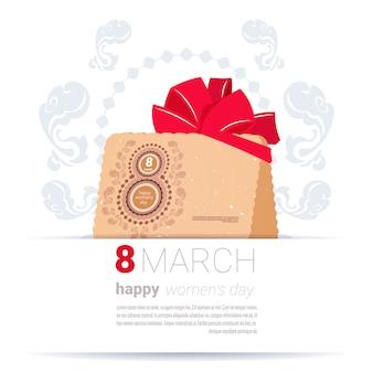 Busta decorata con 8 marzo iscriviti happy women day template sfondo creativo greeting card design