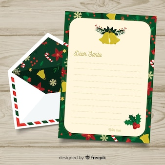 Busta e lettera di natale disegnati a mano