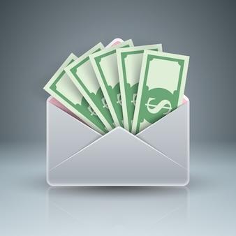 Busta, posta, e-mail, mazzetta denaro icona del dollaro