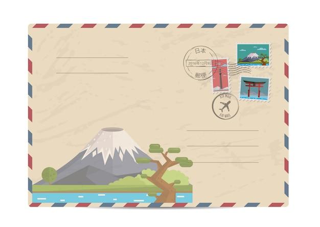 Busta postale vintage con francobolli giapponesi
