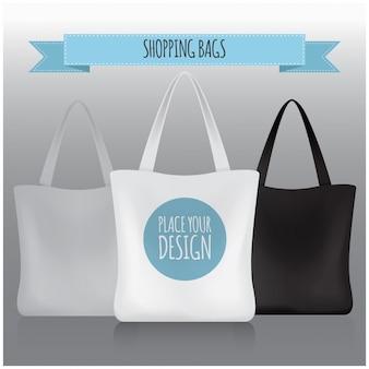 Buste della spesa. borsa bianca, nera, grigia per il tuo marchio.