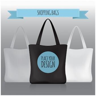 Buste della spesa. borsa nera, bianca, grigia per il tuo marchio.