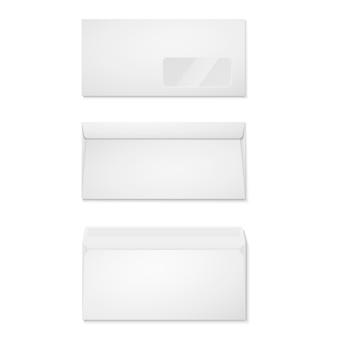 Buste di carta bianca per il tuo design. vista anteriore e posteriore di buste vuote.