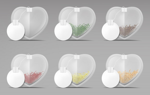 Bustine di tè cuore con etichette rotonde vuote impostate