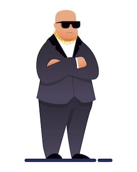 Buttafuori del capo della sicurezza del night club in vestito isolato