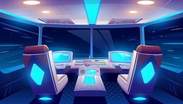 Cabina di pilotaggio di jet all'interno della cabina vuota dell'aeroplano di notte